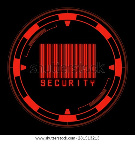 Security code on red futuristic circle - stock photo