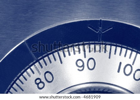 Security ~ combination safe lock, in blue duotone. - stock photo
