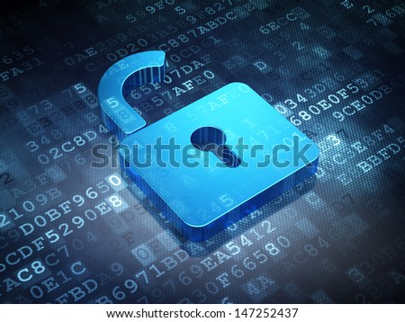 Security concept: Blue Opened Padlock on digital background, 3d render - stock photo