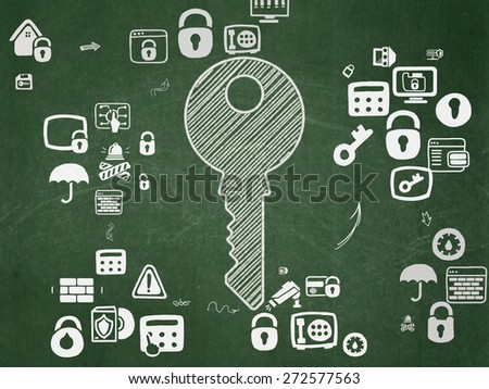 Security concept: Chalk White Key icon on School Board background with Scheme Of Hand Drawn Security Icons, 3d render - stock photo