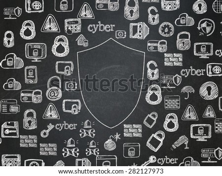 Security concept: Chalk White Shield icon on School Board background with  Hand Drawn Security Icons, 3d render - stock photo