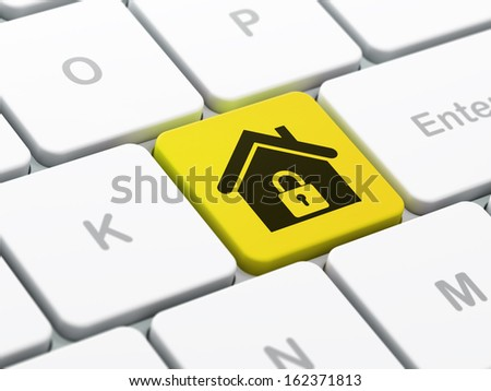 Security concept: computer keyboard with Home icon on enter button background, selected focus, 3d render - stock photo
