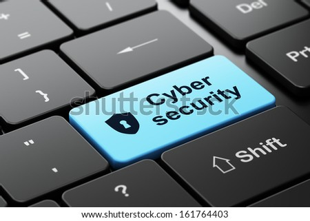 Security concept: computer keyboard with Shield With Keyhole icon and word Cyber Security, selected focus on enter button, 3d render - stock photo