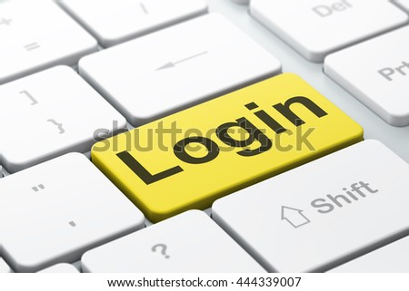 Security concept: computer keyboard with word Login, selected focus on enter button background, 3D rendering - stock photo