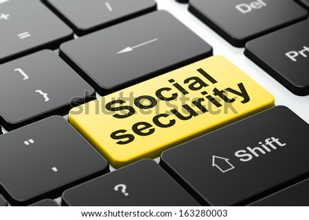 Security concept: computer keyboard with word Social Security, selected focus on enter button background, 3d render - stock photo