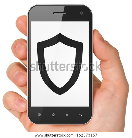 Security concept: hand holding smartphone with Contoured Shield on display. Mobile smart phone on White background, 3d render - stock photo