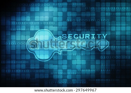 Security concept: key on digital screen, contrast, 3d render - stock photo