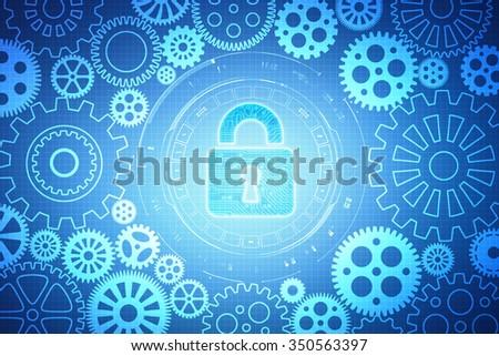 Security concept: Lock on digital screen - stock photo