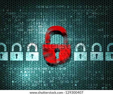 Security concept: Lock on digital screen, illustration - stock photo