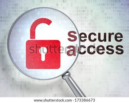 Security concept: magnifying optical glass with Opened Padlock icon and Secure Access word on digital background, 3d render - stock photo