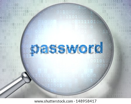 Security concept: magnifying optical glass with words Password on digital background, 3d render - stock photo
