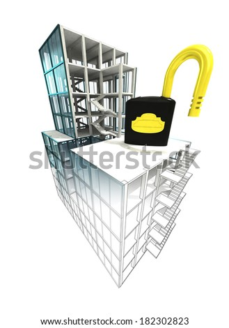 security concept of architectural building plan illustration - stock photo