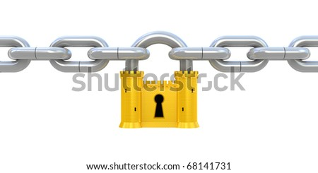 Security concept. Padlock as fortress and chain isolated on white - stock photo