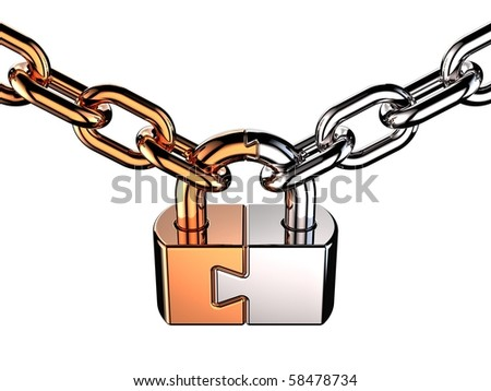 Security concept. Padlock as puzzle. This is a detailed 3D render (Hi-Res). Isolated on white background - stock photo