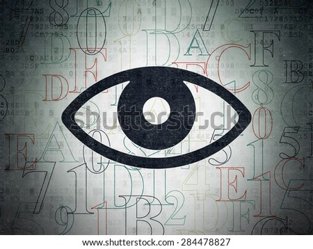 Security concept: Painted black Eye icon on Digital Paper background with  Hexadecimal Code, 3d render - stock photo