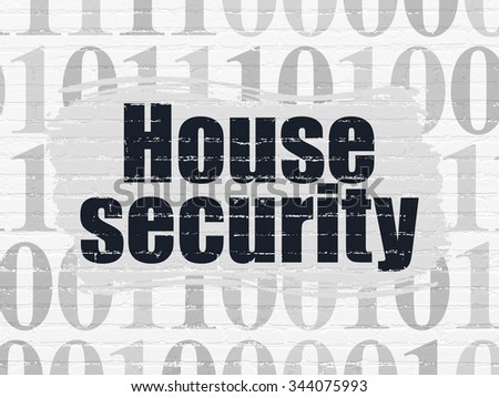 Security concept: Painted black text House Security on White Brick wall background with  Binary Code - stock photo