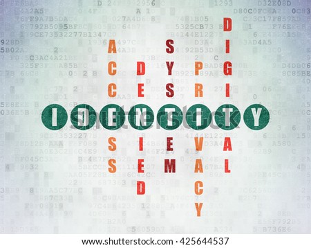 Security concept: Painted green word Identity in solving Crossword Puzzle on Digital Data Paper background - stock photo