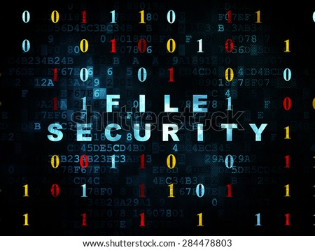 Security concept: Pixelated blue text File Security on Digital wall background with Binary Code, 3d render - stock photo