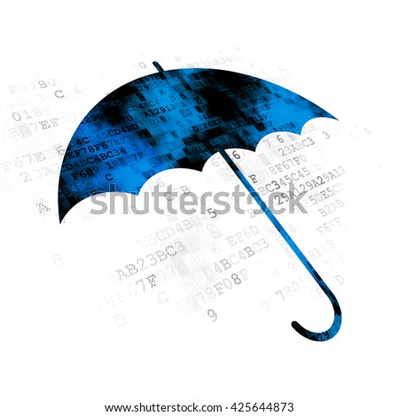 Security concept: Pixelated blue Umbrella icon on Digital background - stock photo