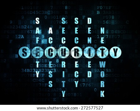 Security concept: Pixelated blue word Security in solving Crossword Puzzle on Digital background, 3d render - stock photo