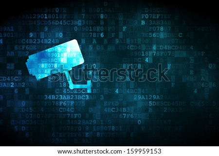 Security concept: pixelated Cctv Camera icon on digital background, empty copyspace for card, text, advertising, 3d render - stock photo