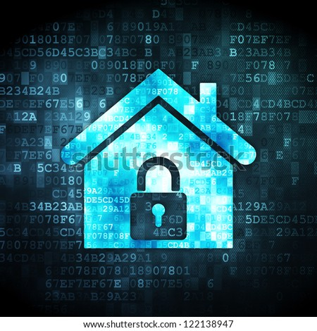 Security concept: pixelated home icon on digital background, 3d render - stock photo
