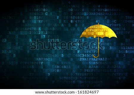 Security concept: pixelated Umbrella icon on digital background, empty copyspace for card, text, advertising, 3d render - stock photo