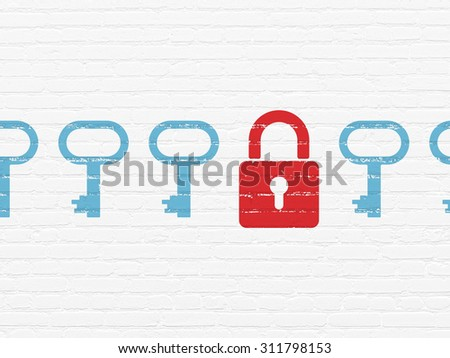 Security concept: row of Painted blue key icons around red closed padlock icon on White Brick wall background - stock photo