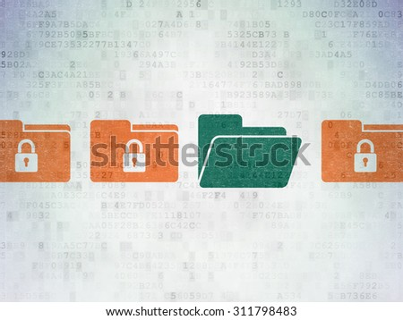 Security concept: row of Painted orange folder with lock icons around green folder icon on Digital Paper background - stock photo