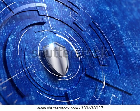 Security concept - shield on digital code background - stock photo