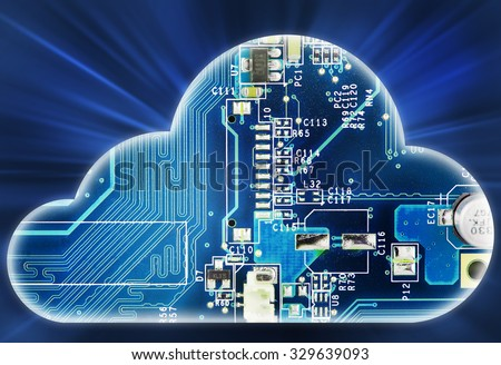 Security concept with cloud in electronic circuit      - stock photo