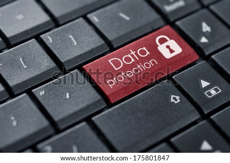 Security Concept. Words Data protection on button of computer keyboard. - stock photo