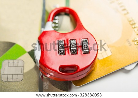 security credit card with locker concept. - stock photo