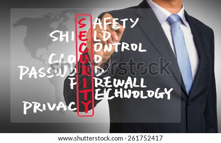 security crossword concept handwritten by businessman  - stock photo