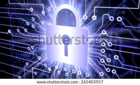 Security. 3D. Cyber security concept with lock - stock photo