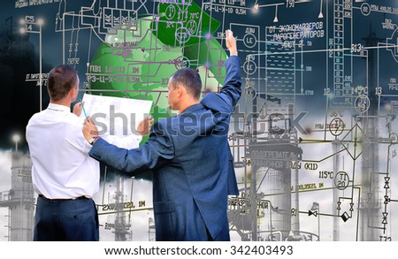 Security ecology planet.Working engineer ecologist.Ecological design - stock photo