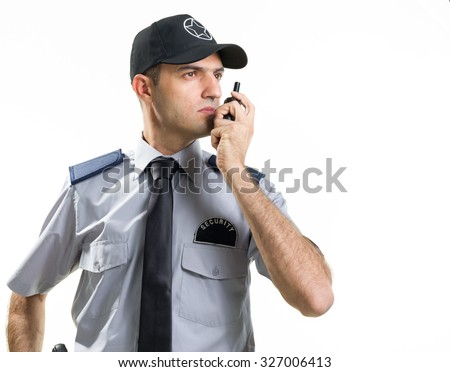 Security Guard Isolated On White - stock photo