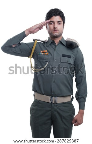 Security guard saluting over white background - stock photo
