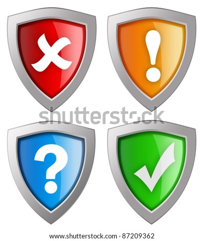 Security icons collection isolated on white - stock photo