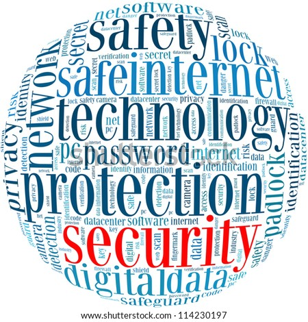 security info-text graphics and arrangement concept on white background (word cloud) - stock photo