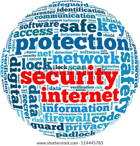 security internet info-text graphics and arrangement concept on white background (word cloud) - stock photo