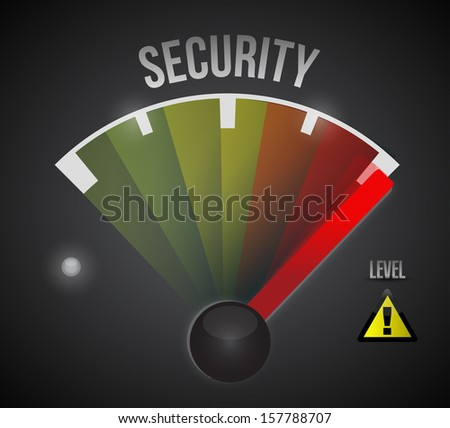 security level measure meter from low to high, concept illustration design - stock photo