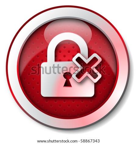 Security lock OFF icon - stock photo