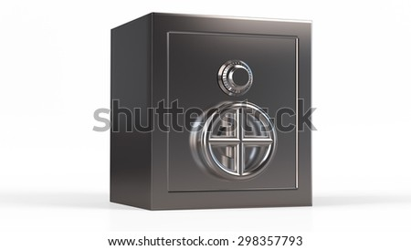 Security metal safe. 3d model isolated background. - stock photo