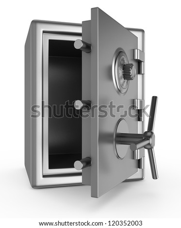 Security metal safe isolated on white background - stock photo