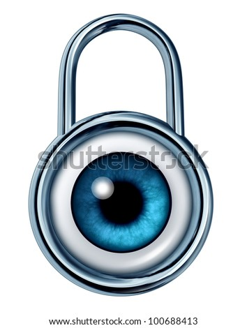 Security monitoring symbol with a strong metal lock icon and an eye ball looking and searching for potential dangers of criminal acts on computer network systems or home protection for insurance. - stock photo