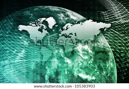 Security Network Data of the World Background - stock photo
