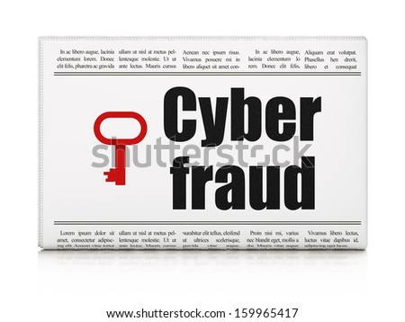 Security news concept: newspaper headline Cyber Fraud and Key icon on White background, 3d render - stock photo