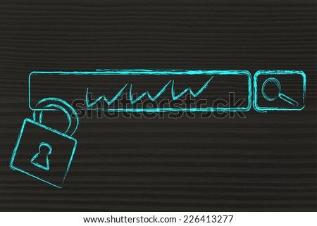 security of data and personal information on the web: search engine bar and lock - stock photo