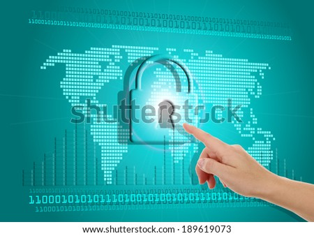 Security of information on the Internet - stock photo